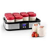 Klarstein Gaia yaourtière électrique 12 pots (préparation de yaourts maison, fromage frais, couvercle hermétique, jusqu'à 2,5L, cadre en inox, écran ...