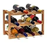 Relaxdays Casier à vin range bouteilles horizontal 3 étages de 4 bouteilles pour 12 bouteilles en bois étagère à bouteilles ...