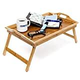 Relaxdays Tablette de Lit pliable Plateau Petit Déjeuner au Lit pliant en bambou laqué bois H x l x P: ...